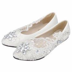 Dimana Beli Lace Bridal Crystal Pernikahan Sepatu Rhinestone Rendah Tumit Flat Bridesmaid Prom Sepatu Putih Intl Not Specified