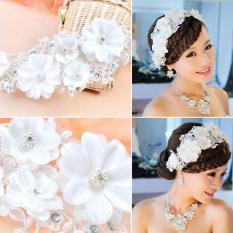 Daftar Harga Lace Faux Pearl Brider Wedding Brids Rhinestone Flower Wire Hair Tiara White Intl Oem