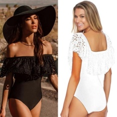 Lace Lipatan Bahu Swimsuit 2017 Baru Wanita Seksi Ruffles Bodysuit Swimwear One Piece Swimsuit Swim Wear-Intl