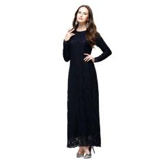 Lace Maxi Dress Rok Wanita Melayu Islam Gaun Rok Arab Jubah Jumpsuit Lengan Panjang Hitam-Internasional