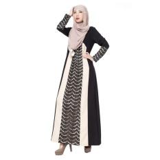 Renda Muslim Gaun Panjang Tradisional Arab Robe Melayu Terusan Rok Linen Lengan Panjang Hitam-Internasional