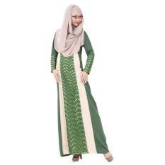 Renda Muslim Gaun Panjang Tradisional Arab Robe Melayu Terusan Rok Linen Lengan Panjang Hijau-Intl