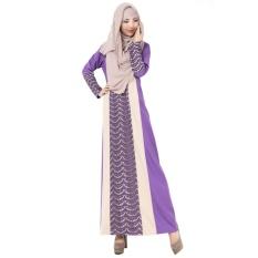 Renda Muslim Gaun Panjang Tradisional Arab Robe Melayu Terusan Rok Linen Lengan Panjang Ungu-Intl