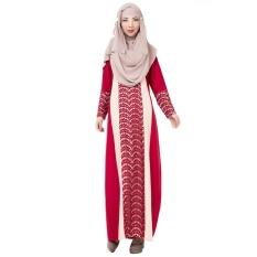 Renda Muslim Gaun Panjang Tradisional Arab Robe Melayu Terusan Rok Linen Lengan Panjang Merah-Intl