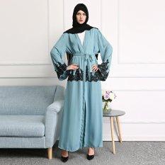 Renda Patchwork Muslim Gaun Jubah Blok Warna Musulmane Cardigan Dubai Turki Fashion Abaya dengan Sabuk-Intl