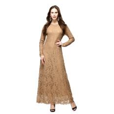 Renda Rok Wanita Melayu Islam Gaun Rok Arab Jubah Jumpsuit Lengan Panjang Khaki-Intl