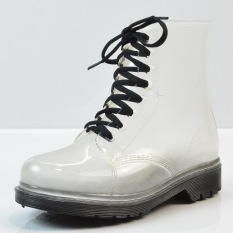 Cara Beli Lace Up Baju Wanita Hitam Hujan Boots 2016 Intl