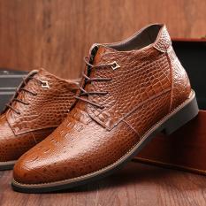 Harga Ujung Runcing Pola Renda Kulit Pu Buaya Sepatu Bot Pendek Untuk Pria Coklat Internasional Online