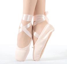 Review Wanita Sepatu Balet Gadis Satin Tari Sepatu Kanvas Hard Telapak Kuku Praktek Sepatu Merah Muda