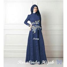 Ladies Fashion Dress Fitri Muslim / Kebaya / Syari Syar'i/ Baju Gamis Setelan Wanita 3 in 1 (salindaro) SS - Navy D2C