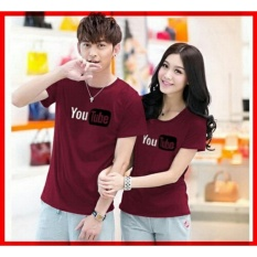 LF Kaos Couple Youtube / Kaos Oblong Fans Club / Kaos Murah / Tshirt Pasangan / Pakaian Kembar / Kaos Pria Wanita LC D30 - Maron D3C