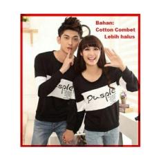 Beli Lf Kaos Lengan Panjang Couple Model P Kaos Lengan Panjang Distro Cotton Combed Pasangan T Shirt Pasangan Pakaian Kembar Pusple Lc D30 Hitam D3C Nyicil