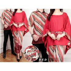 Batik Pasangan Premium Pria Dan Wanita TERMURAH / Batik Murah Gamis Lebaran Keluarga Pasangan / Batik Couple Setelan Kutu Baru Modern / Kebaya Busana Kemeja BATIK / Dress Gamis Wanita Muslimin / Baju Pasangan Lebaran (Game) 7T - Merah