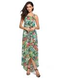 Promo Hem Tidak Teratur Bunga Cetak Wanita Gaun Panjang Maxi Gaun Jersey Rayon Pantai Tiongkok