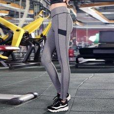 Dimana Beli Ladies Legging Olahraga Gerakan Lipat Tinggi Elastis Fitness Legging Wanita Patchwork Workout Pants Legging Abu Abu Grey Intl Oem