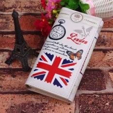 Ladies Long Desain Dompet Clutch Dompet Tas Cetak Kartu Case Bendera Nasional M Word-Beras-Internasional