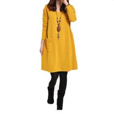 Ongkos Kirim Wanita Saku Lengan Panjang Leher V Bahan Katun Longgar Kasual Hamil Gaun Mini Kuning Di Hong Kong Sar Tiongkok