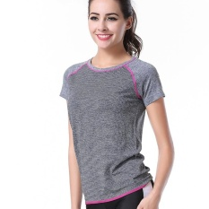 Review Ladies Lengan Pendek Kerah Bulat T Shirt Dry Dry Moisture Wicking Fitness Pakaian Intl
