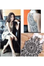 Harga Ladies Vintage Style Stand Collar Eksotis Gaun Mini Putih Ekspor Intl New