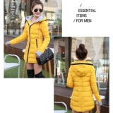 Promo Ladies Winter Coat Cotton Padded Jaket Jaket Ritsleting Hoodie Mengental Sedang Panjang Intl Oem Terbaru
