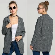 Beli Ladies Winter Warm Lapel Trench Wool Long Parka Coat Outwear Jacket Online Terpercaya