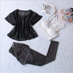 Harga Wanita Pakaian Olahraga Berlari Suit Tiga Potong Wanita Olahraga Yoga Cepat Kering Termasuk Pakaian Mesh T Shirt Bras Celana Intl Asli Oem