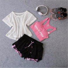 Beli Wanita Pakaian Olahraga Berlari Suit Tiga Potong Wanita Olahraga Yoga Cepat Kering Termasuk Pakaian Mesh T Shirt Bras Shorts Intl Online Terpercaya