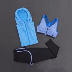 Wanita Pakaian Olahraga Setelan Lari Pakaian Yoga Cepat Kering Tiga Potong Termasuk Jaket Bertudung 、 Olahraga Bra 、 Celana cocok untuk Fitness 、 Zumba 、 Yoga dan Jogging. -Intl