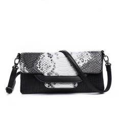 Lady Designer Cross Body Bag Fashion Gaya Barat CrocodilePattern Handbag & Wristlet (Hitam dan Putih)-Intl