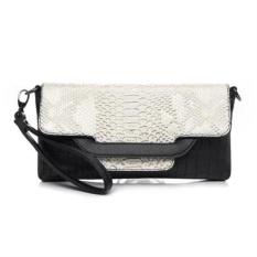 Lady Designer Cross Body Bag Fashion Gaya Barat CrocodilePattern Handbag & Wristlet (Pucat Emas)-Intl