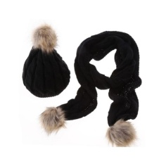 Lady Fashion Winter Warm knitted Hat and Scarf Set with Pom Pom for Women Color:black - intl