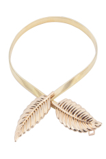 Harga Lady Metal Leaves Shiny Elastic Stretch Chain Waist Belt Strap Waistband Gold Intl Termahal