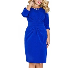 Lady Pensil Gaun Musim Gugur 2017 Fall Manik-manik Solid Vestidos Zipper Knee Panjang OL Bekerja Kain Plus Ukuran Woman Dress 5XL 6XL (biru) -Intl