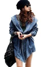 Harga Pinggang Ramping Wanita Denim Jas Hujan Berkerudung Pakaian Jaket Jean Biru Branded