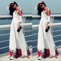 Lady's Wanita Dicetak Slim Long Dress (Putih)-Intl