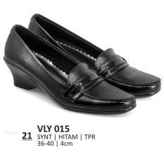 Lagenza Sepatu kerja elegan wanita kasual formal kulit sintetik termurah black low heels lze021