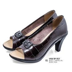 Jual Lagenza Sepatu Kerja Wanita Casual Formal Kulit Leather Coffee Mid High Heels Lze001 Satu Set