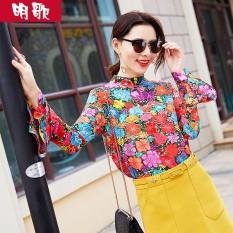 Lagu Ming Musim Semi Baru Baju Lengan Daun Lotus Sutra Kemeja (Warna)