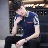 Spek Kaos Oblong Pria Katun Tulen Lengan Pendek Kerak Lapel Ukuran Besar Membentuk Tubuh Biru Tua Tiongkok