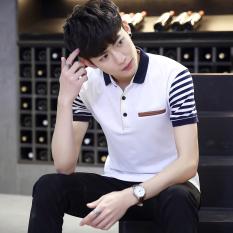 Beli Kaos Oblong Pria Katun Tulen Lengan Pendek Kerak Lapel Ukuran Besar Membentuk Tubuh Putih Murah Di Tiongkok