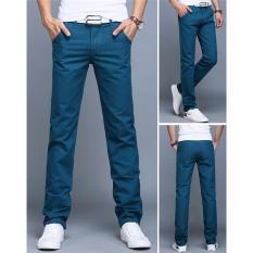 Jual Danau Biru Baru Pria Bisnis Kasual Slim Pants Solid Celana Fashion Lurus Pria Kargo Celana Pria S Pakaian Ukuran 28 40 Intl Murah Tiongkok