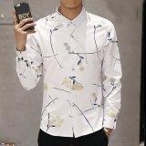 Review Pada Laki Laki Lengan Baju Santai Korea Cetak Penuh Katun Kemeja Button Down