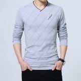 Spesifikasi Laki Laki V Neck Slim Versi Korea Pria Dari Kemeja T Shirt Abu Abu Terang Baju Atasan Kaos Pria Kemeja Pria Yang Bagus