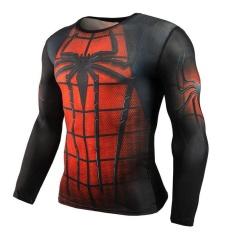 Spesifikasi Lalang 3D Cetak Lengan Panjang T Shirt Fitness Pria Binaraga Kompresi Crossfit Tops Kemeja Merah Intl Bagus
