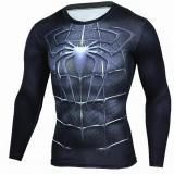 Diskon Lalang 3D Cetak Lengan Panjang T Shirt Fitness Pria O Leher Binaraga Kompresi Tops Kemeja Hitam Intl Branded