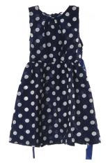 LALANG Gaun Anak Perempuan Polka Dot Chiffion Sabuk Pengaman Sabuk Gaun 120 Cm Biru-Internasional