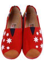 Jual Lalang Busana Kanvas Sepatu Star Printed Casual Sneakers Merah Lalang Grosir