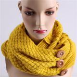 Dapatkan Segera Lalang Fashion Musim Dingin Wanita Kancing Kerah Syal Rajutan Syal Selendang Kerudung Leher Cincin Hangat Kuning International
