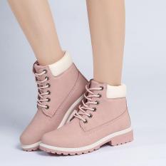 LALANG Busana Wanita Ankle Martin Boots Militer Combat Sepatu Pink-Intl