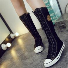 LALANG Busana Wanita Renda Ritsleting Sepatu Bot Setinggi Lutut Bocah Lepas Kanvas Her Datar (Hitam)